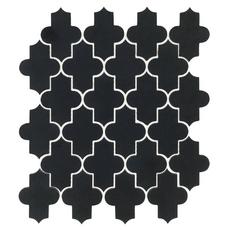 Maravilla Jet Black Basalt Arabesque Limestone Mosaic