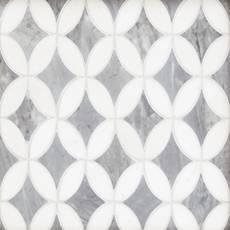 Bardiglio Thassos Lily Polished Marble Mosaic