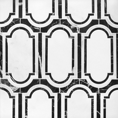 Artemis Carrara Nero Water Jet Polished Marble Mosaic