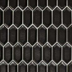Jet Black Basalt Picket Limestone Mosaic 12 X 12