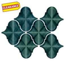 Clearance! Blue Jade Arabesque Polished Porcelain Mosaic