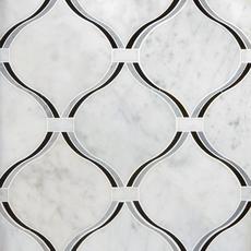 Lyra Carrara Nero Polished Water Jet Marble Mosaic
