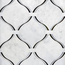 Lyra Carrara Nero Polished Waterjet Marble Mosaic