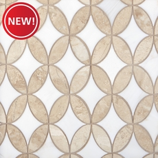 New! Crema Royal Dolomite Lily Water Jet Polished Marble Mosaic