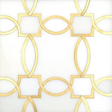 Phoenix Royal White Brass Water Jet Marble Mosaic