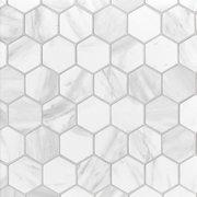 Volakas Polished Hexagon Porcelain Mosaic
