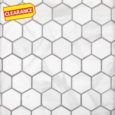 Clearance! Volakas Hexagon Porcelain Mosaic