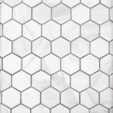 Volakas Hexagon Porcelain Mosaic