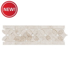 New! Cream Royal Thassos Floral Polished Decorative Marble Border