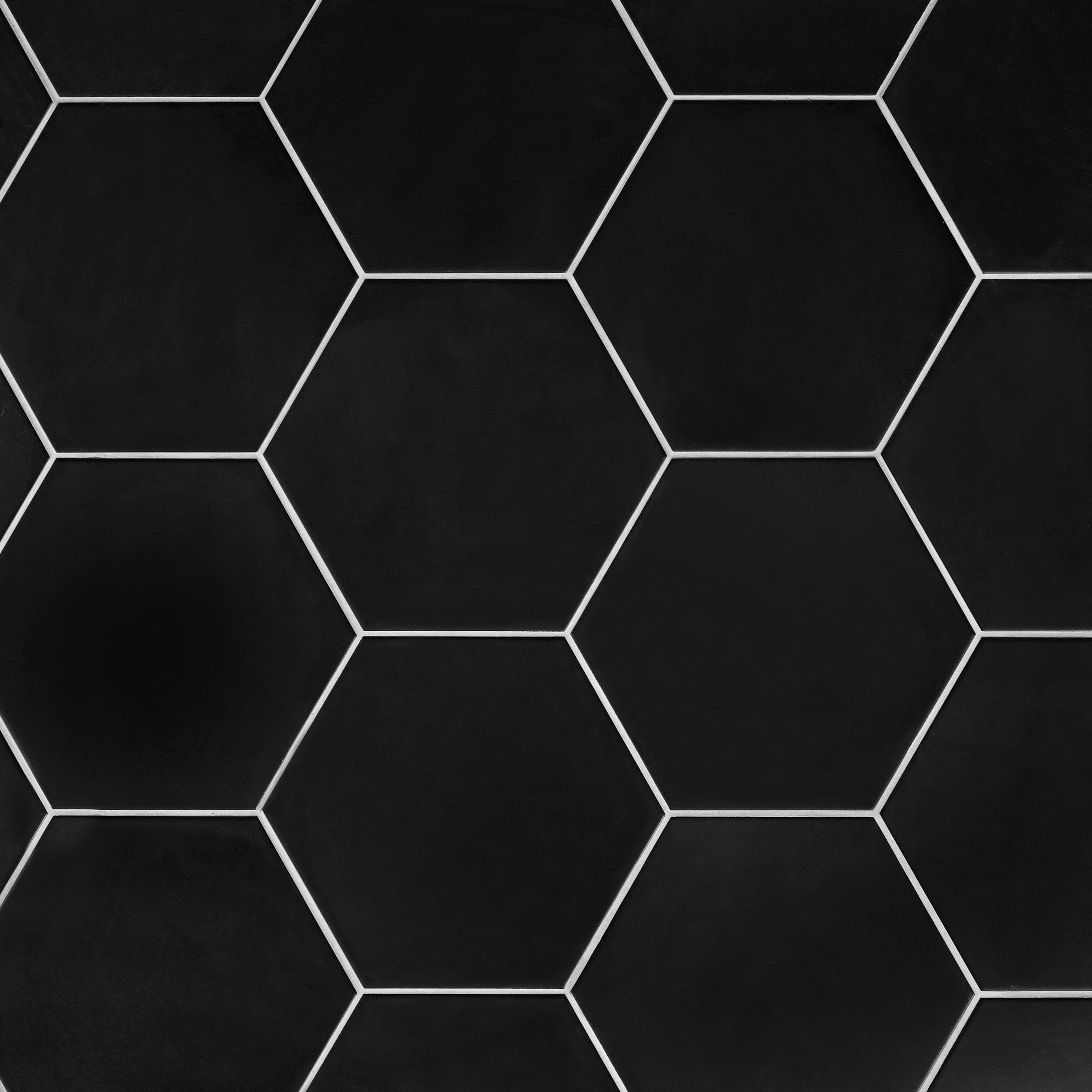 Opal Black Hexagon Porcelain Tile