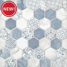 New! Chateau Blue 2 in. Hexagon Recycled Glass Mosaic