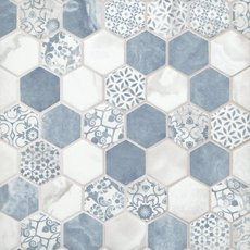 Chateau Blue 2 in. Hexagon Recycled Glass Mosaic