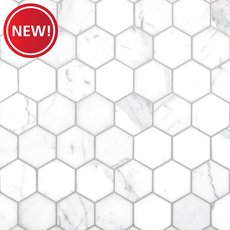 New! Statuario 2 in. Hexagon Polished Marble Mosaic