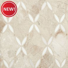 New! Crema Royal Thassos Trellis Polished Marble Mosaic
