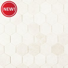New! Santorini White 2 in. Hexagon Polished Marble Mosaic