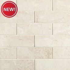 New! Santorini White 2 x 6 in. Brick Marble Mosaic