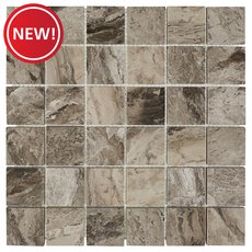 New! City Gray 2 in. Square Polished Marble Tile