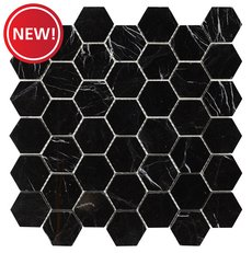 New! Sable Black Hexagon Polished Marble Tile