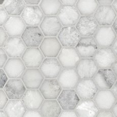 Sahara Carrara 2 in. Hexagon Polished Marble Mosaic