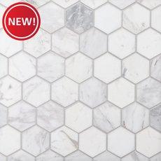 New! Volakas 2 in. Hexagon Honed Marble Mosaic
