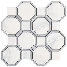 Gables Plateau White Bardiglio Marble Mosaic
