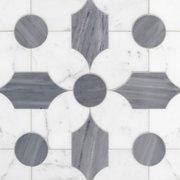 Vesta Statuario and Latin Blue Waterjet Marble Mosaic