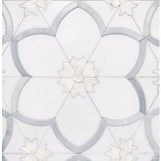 Flora Thassos Latin Blue Mother of Pearl Mosaic