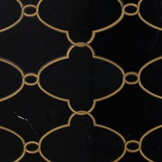 Gatsby Black Jade and Brass Waterjet Marble Mosaic