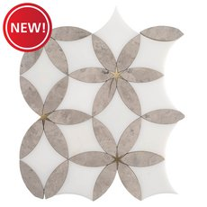 New! Cressida Royal White and Brass Waterjet Marble Mosaic