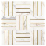 Manhattan Calacatta Statuario and Gold Marble Mosaic