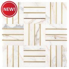 New! Manhattan Carrara White and Gold Marble Mosaic