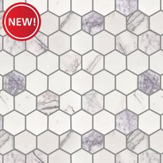 New! Amethyst 2 in. Hexagon Polished Marble Mosaic