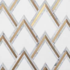 Bravos Thassos Carrara Brass Waterjet Mosaic