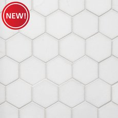 New! Thassos 2 in. Hexagon Polished Marble Mosaic