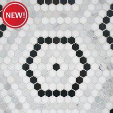 New! Cafe Du Monet Hexagon Polished Marble Mosaic
