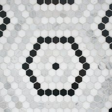 Cafe Du Monet Hexagon Polished Marble Mosaic
