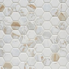 Calacatta Oro Hexagon Ceramic Mosaic