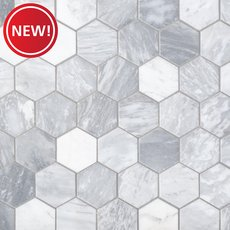 New! Solco White 2 in. Hexagon Polished Marble Mosaic