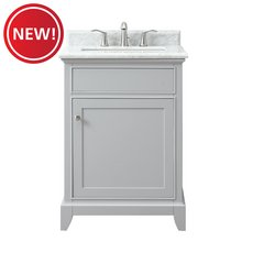 New! Aurora 25 in. Vanity with Carrara Marble Top