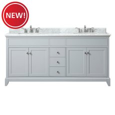 New! Aurora 73 in. Vanity with Carrara Marble Top