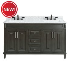 New! Sterling 61 in. Vanity with Carrara Marble Top