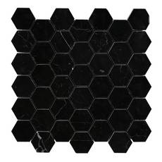 Nero 2 in. Hexagon Polished Marble Mosaic