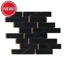 New! Nero Brass Linear Marble Mosaic