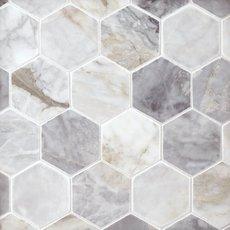 Calacatta Bluette 3 in. Hexagon Polished Marble Mosaic