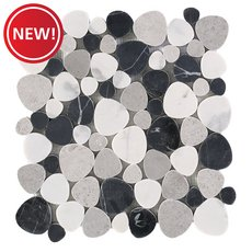 New! Lovina Beach Honed Marble Pebble Mosaic