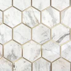 Bianco Orion Brass 6 in. Hexagon Polished Marble Mosaic