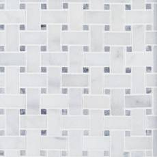 Carrara Chateau Basket Weave Polished Marble Mosaic