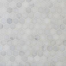 Carrara Chateau 1 in. Hexagon Honed Marble Mosaic