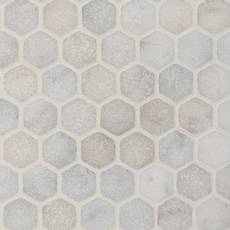 Carrara Chateau 2 in. Hexagon Tumbled Marble Mosaic