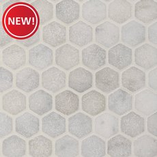 New! Chateau Tumbled 2 in. Hexagon Carrara Marble Mosaic